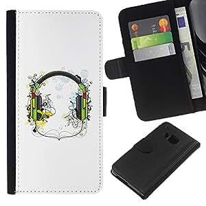 Planetar® Modelo colorido cuero carpeta tirón caso cubierta piel Holster Funda protección Para HTC One M7 ( Music Headphones )