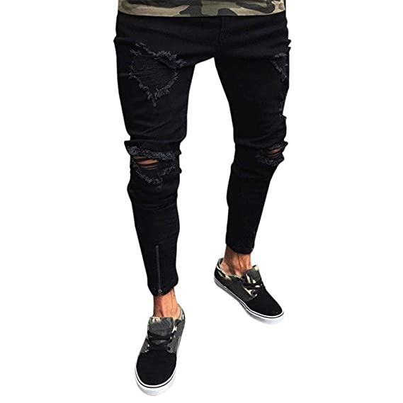 TAOtTAO Männer Slim Biker Zipper Jeans Skinny Ausgefranste Hose Distressed Rip Hose