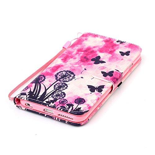 """iPhone 6 plus Handytasche, Felfy Ultra Slim Flip für / Apple iPhone 6/6S plus 5.5"""" / Leder Etui Ledertasche Schutzhülle Case / ablösbar Handliche Handy Strap schwarzer Schmetterling Design/ 1x Pink Bl"""