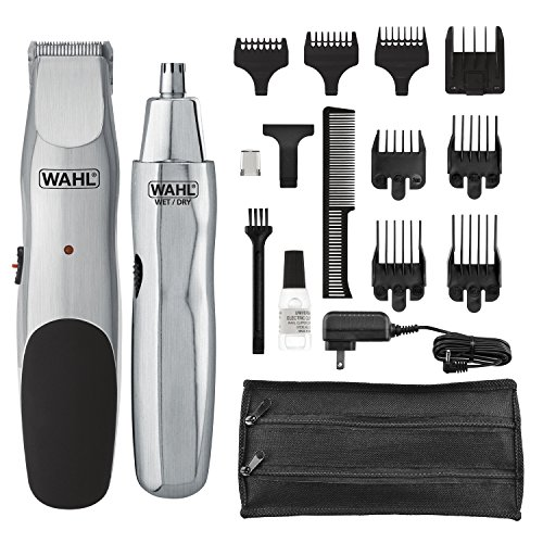Wahl Groomsman rechargeable cord-cordless beard trimmer for beard, mustache, stubble with self sharpening blades and bonus nose trimmer (# 05623)