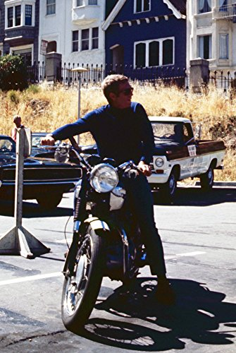 Steve McQueen in Bullitt cool on San Francisco set riding motorcycle wearing sunglasses 18x24 Poster