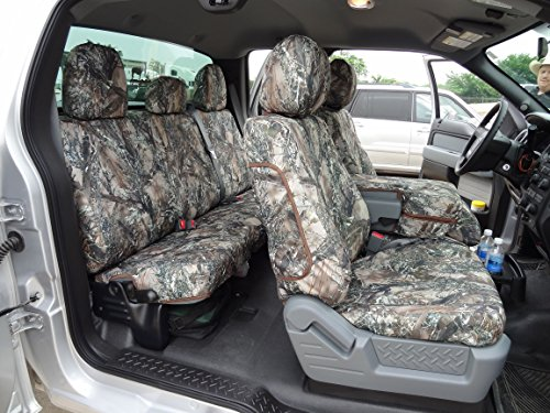 Exact Seat Covers, FD75 F488/F490 MC2-C, Custom Exact Fit Seat Covers Designed For 2011-2013 Ford F150 XL and STX Model Front 40/20/40 Split Seat with Center Fold Down Armrest and Rear 60/40 Split Seat. Water Resistant MC2 Camo Endura (Camo Seat Covers For 60 40 Split)