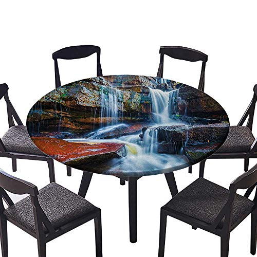 (Round Premium Table Cloth Multiple Waterfalls Centered Between Rock Steps with Moss on Them Brown and White Perfect for Indoor, Outdoor 31.5