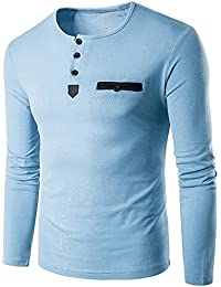 Allonly Men's Casual Round Neck Button Closure Sweatshirt Solid Color Long Sleeve Tshirt