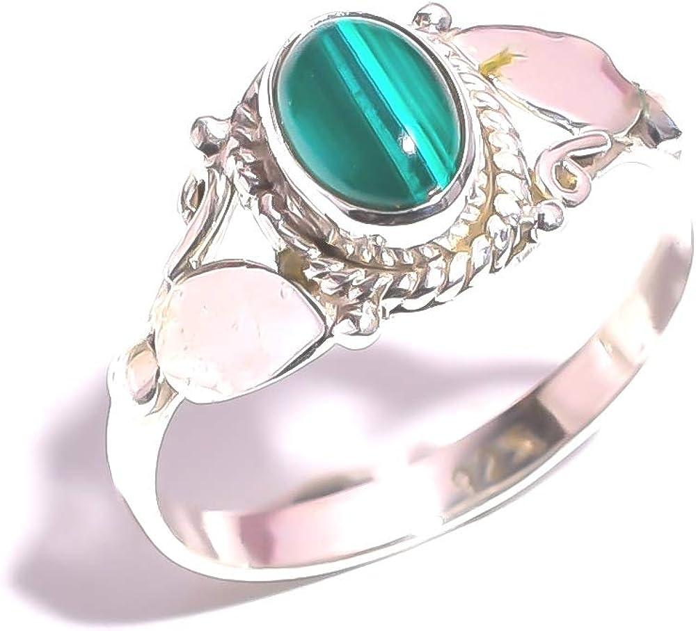 mughal gems & jewellery Anillo de Plata de Ley 925 Anillo de joyería Fina de Piedras Preciosas de malaquita Natural para Mujeres y niñas (Tamaño 7.75 U.S)