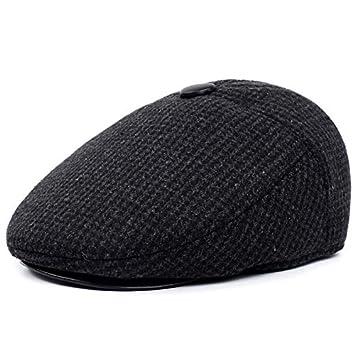 VODRWHAQ Hombre Gorras Sombrero para Hombre de otoño e Invierno Gorro Viejo  Casquillo de Mediana Edad Gorra al Aire Libre Cálido Sombrero de Abuelo Papá   ... af7a50f52f0
