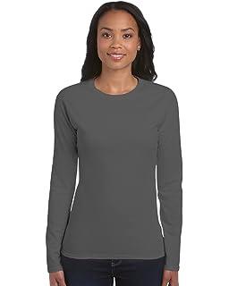4b00d93ef ZEE FASHION Ladies Plain Stretch Fit Long Sleeve Womens T-Shirt Round Neck  Basic Top…
