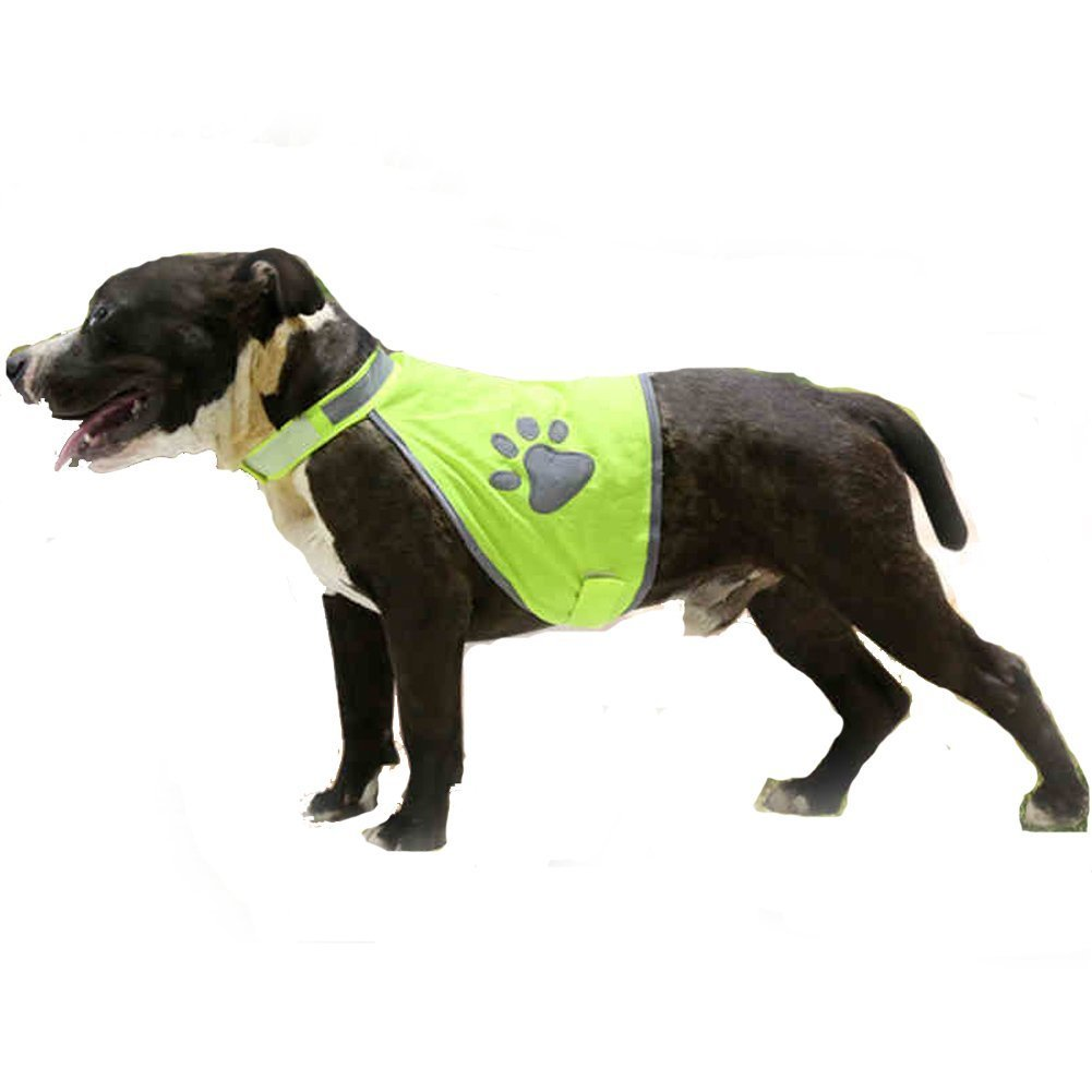 Lifeunion Dog Reflective Vest Adjustable Strap and Florescent Reflectors Dog Safety Vest for Hiking Hunting Walking (L)