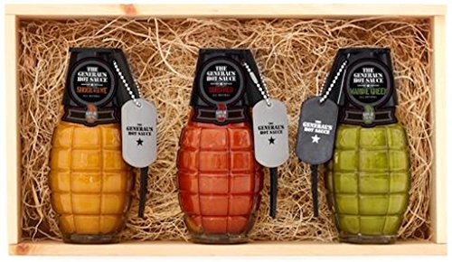 The General's Hot Sauce Gift Box: Three 6 oz Bottles of Gourmet Hot Sauce Made With Louisiana-Grown Peppers Comes in a Stamped Wood Slider Box, Great For Gifts. Marine Green/ Dead Red/ Shock & Awe. by The General's Hot Sauce