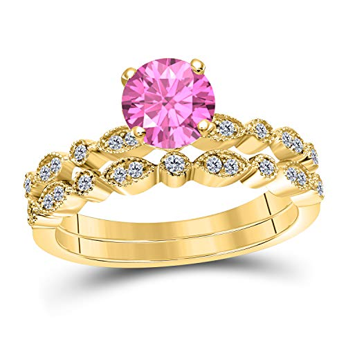 (Art Deco Style 1.00 Ct Lab Created Pink Sapphire Round Shape Engagement Ring Set 14K Yellow Gold Over Sterling Silver Bridal Ring Set for Women's Jewelry)