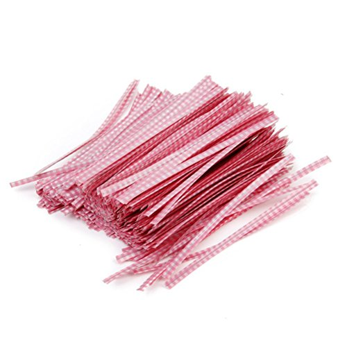 Tinksky 500pcs Gift Wrapping Twist Ties for Party Bakery Cookie Candy Bags (Pink)