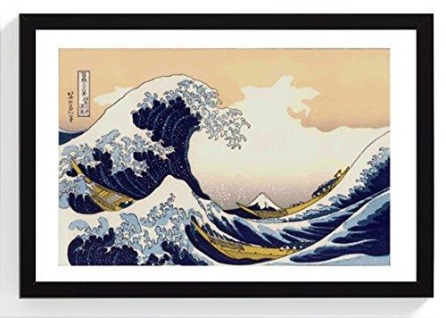 OONAMI große Welle vor Kanagawa auf Original japanisches Papier Passepartout Weiß in Holzrahmen 32 x 22 cm