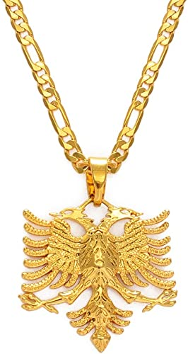 Albania Eagle Pendant Necklaces For Men Women Gold Color Albanian Jewelry Ethnic Gifts 60Cm | Amazon.com