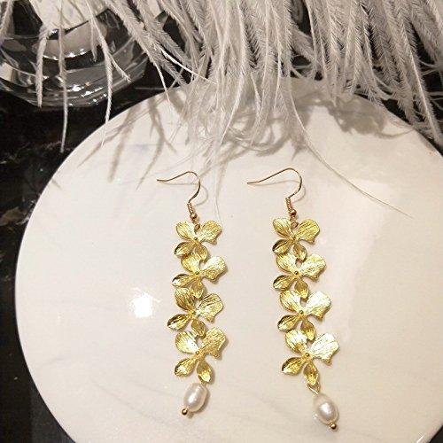 Earrings Wisteria (usongs Wisteria elegant really making brass pearl earrings style earrings ear clip women girls)