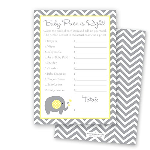 24 Chevron Elephant Baby Shower Price Game Cards (Yellow)