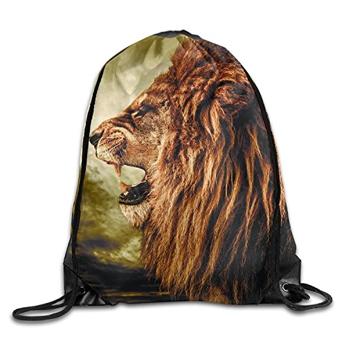 Large Capacity Drawstring Backpack Lion Roar Waterproof Drawstring Sports Backpack For Men And Women ()