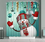 Snowman Shower Curtain DENGYUE Happy Snowman Shower Curtain, Flushed Chubby Face Snowman Wearing Red Gloves New Hat Scarf Nice to Meet You 3D Print Solid Color Bath Curtain