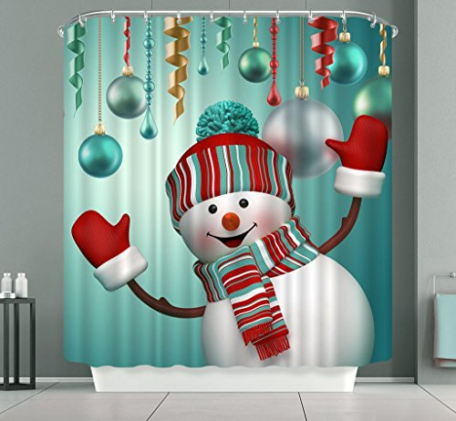 Snowman Bath (Happy Snowman Shower Curtain, Flushed Chubby Face Snowman Wearing Red Gloves New Hat Scarf Nice to Meet You 3D Print Solid Color Bath Curtain)
