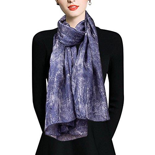 Fashion Silk Womens Big (EcoWonder 100% Silk Scarf for Women Fashion Shawls Lightweight Long Silk Scarf Silk Head Scarf Ladies Wonderful Gift)