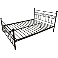 UHOM Queen Size Bedroom Metal Steel Bed Frame Platform Headboards Mattress Foundation
