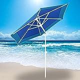 AMMSUN 6 Panels 7ft Polyester Fabric Heavy Duty Air-Vent UV Protection Patio Umbrella Beach Umbrella with Zinc Tilt (Dark Blue, 7ft) Review