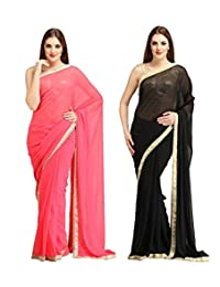 (Pack of 2)Yogalz Indian Women Peach And Black Georgette Saree Party Wear Sari