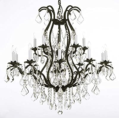 "Wrought Iron Chandelier Crystal Chandeliers Lighting H36"" X W36"""