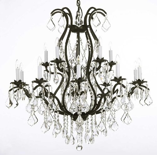 Swarovski Crystal Trimmed Chandelier! Wrought Iron Chandelier Lighting Chandeliers Dressed with Swarovski Crystal