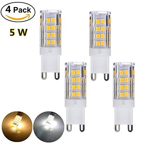 5W G9 LED Light Bulb 110V Corn Bulb, Replacement for 40W Halogen Lamp Chandelier Light Bulb (4 pack Cold White) (Lens 50mm Pl)