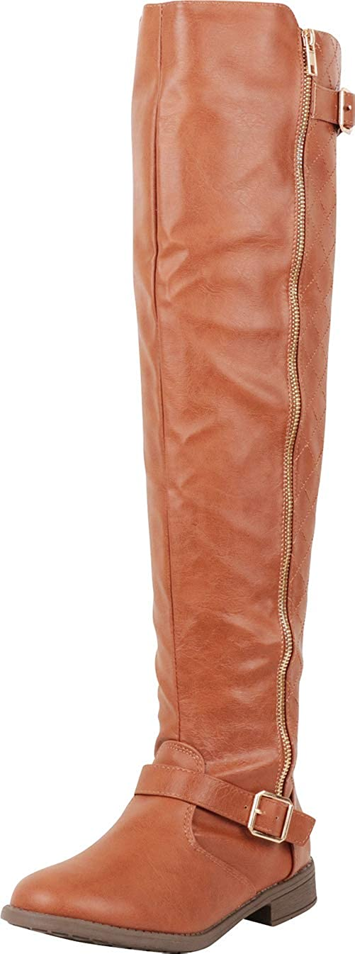 Tan Pu Cambridge Select Women's Thigh-High Quilted Strappy Buckle Riding Over The Knee Boot