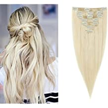 """18"""" Soft Silky Straight 7pcs 15 Clip in Human Hair Extensions 100% Real Remy Full Head-Platinum Blonde(70g)"""