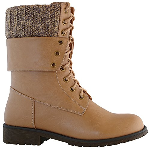 Card Boots Mid Buckle Calf Ankle Exclusive Combat Pocket Up Credit Womens DailyShoes Military Pu Fold Down Beige pST4wcqBOq