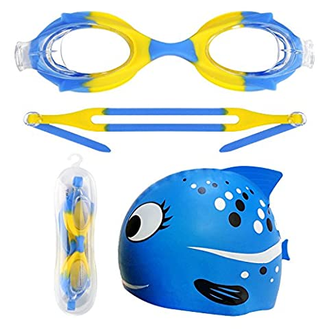 Swimming Goggles Swim Cap Set for Kids,Anti Fog No Leaking Adjustable Soft Silicone Swim Glasses with Free Waterproof Silicone Swim Cap for Boys Child Long Hair Girls (Blue Yellow - 2.0 Rx Eyewear