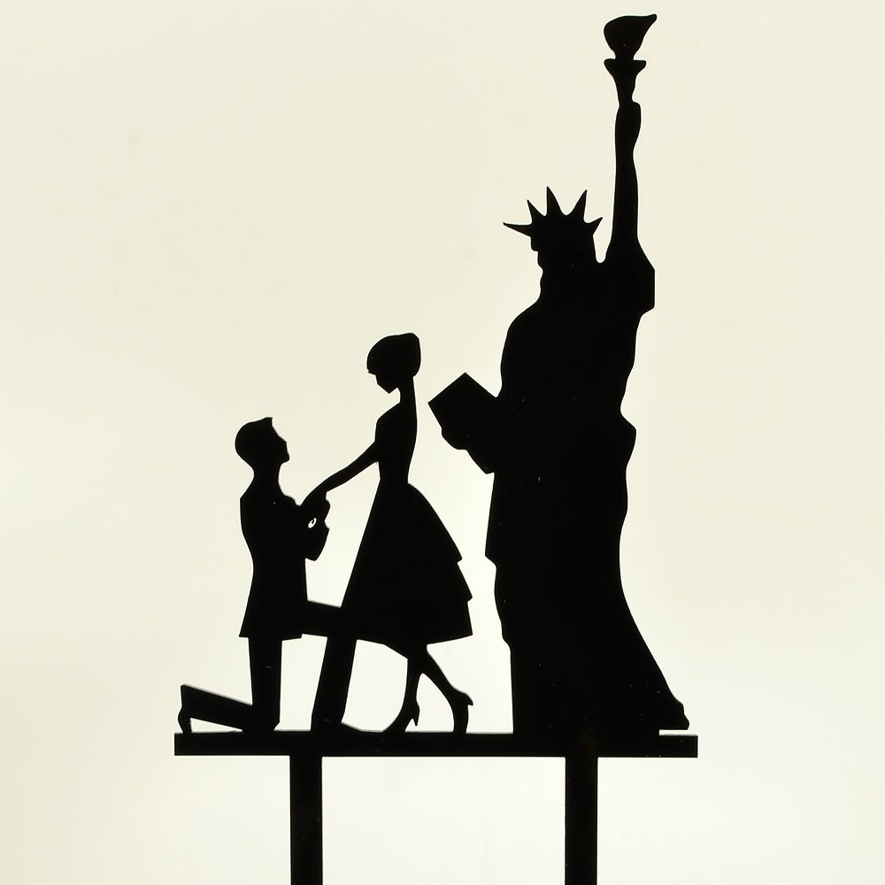 Love silhouettes icing sheet cake topper A4 wedding engagement cakes