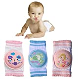 Baby Cartoon Kneepads with Sponge for Crawling 3 Pairs, Cotton Soft Little Leg Warmers, Safety Protect Knee and Elbow Against Hard Floors and Carpets