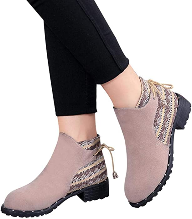 Amazon Com Gyoume Ankle Boots Women Lace Up Boots Shoes Flat Wedge