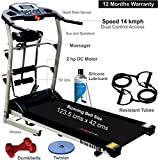Healthgenie 7in1 Motorized Treadmill 4112M with Massager, Sit-ups, Tummy Twister, Dumbbells, Resistant Tubes & Silicone Lubricant 550ml, Max Speed 14 Kmph.