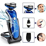 Electric Shaver , Aoohe 4D IPX7 3In1 Washable Floating Head Electric Shaver Razor Nose Trimmer Hair Temple Cutter