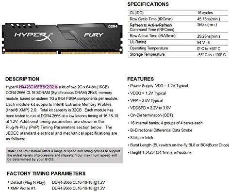 Kit of 2 / Black XMP Desktop Memory HX432C16FB3K2//32 HyperX Fury 32GB 3200MHz DDR4 CL16 DIMM