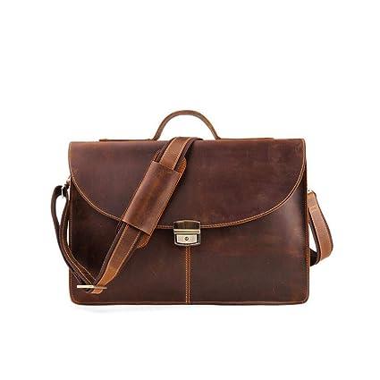 Men s Business Bag Crazy Horse Leather Briefcase Cross Section Diagonal  Cross Bag Men s Handbag European and d2e3560b2f