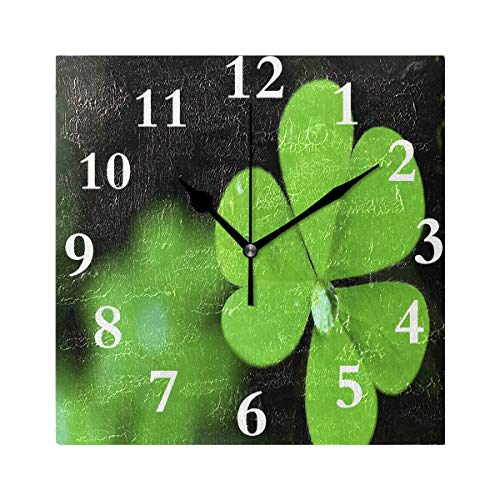 - DERTYV Silent Wall Clock Irish Shamrock for Home/Office/Kitchen/Bedroom/Living Room 7.87x7.87Inch