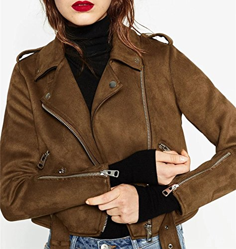 Brown Leather Brown5 Motorcycle Jacket Kidly Faux Lined Soft Slim Suede Zipper Epaulet Coat Full tBq6R6