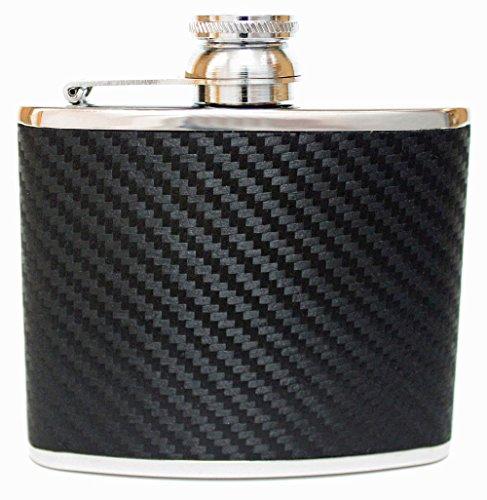 4oz Black Carbon Fibre Leather Hip Flask
