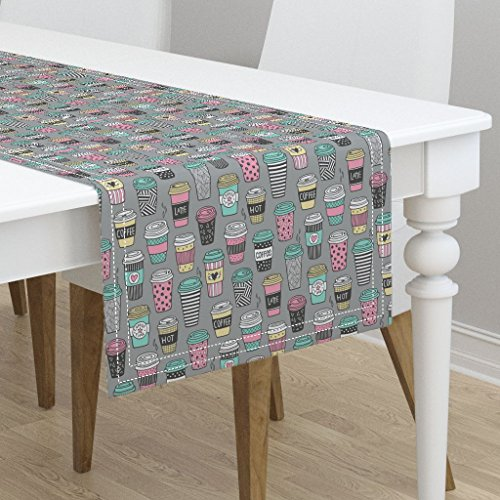 Table Runner - Coffee Latte Cafe Coffee Fabric Tea Kitchen Food by Caja Design - Cotton Sateen Table Runner 16 x - Table Runner Latte Cafe