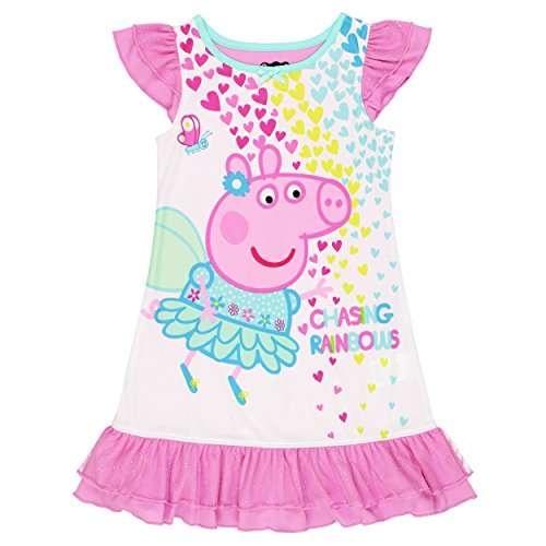 [Peppa Pig Big Girls' Chasing Rainbows Dorm, Pink, X-Small (4-5)] (Little Pig Costumes)