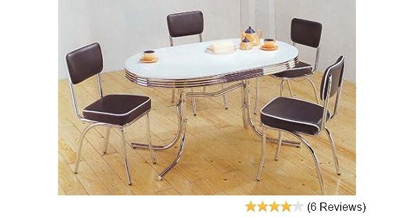 Amazoncom Coaster Home Furnishings Retro Dining Table Set Four