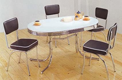 amazon com retro dining table set four black chairs chrome plated