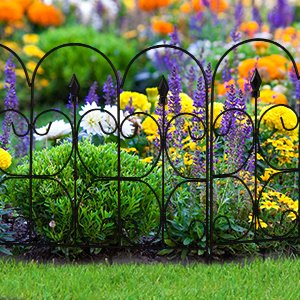 Amagabeli Decorative Garden Fence Coated Metal Outdoor Rustproof 32in X  10ft Landscape Wrought Iron Wire Border Fencing Folding Patio Fences Flower  Bed ...