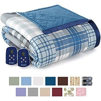Thermee Micro Flannel Electric Blanket, Ultramarine Plaid, King