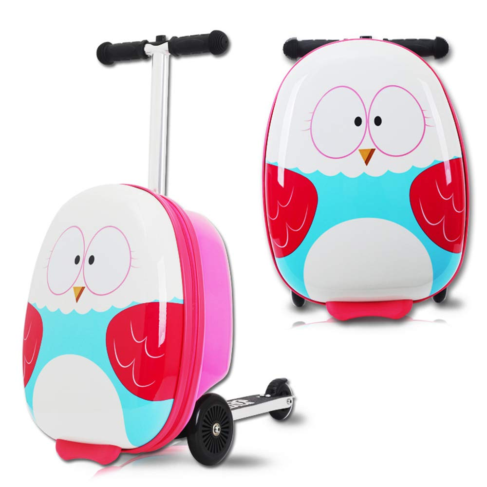 Kid's Luggage Scooter 18'' Ride-on Mini Scootcase Luggage Suitcase With Collapsible Scooter Cute Cartoon Children's Suitcase Baby Scooter Suitcase Trolley Case Slide Car Stand (Owl)